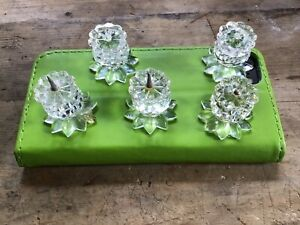 Swarovski Candle Holder Candlesticks Small With Some Damage  5 Five Of Them