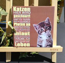 Dekofliese Wandbild Bildfliese Decoupage Handgefertigt Katze Spruch (045DP)