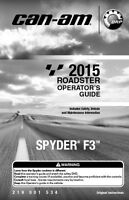 New Can-Am Spyder F3 2015 Roadster Owners Operators Manual Paperback FREE S&H