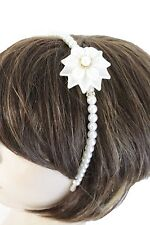 Women Headband Bridal Fashion Jewelry Ivory Pearl Beads Hair Accessories Flower