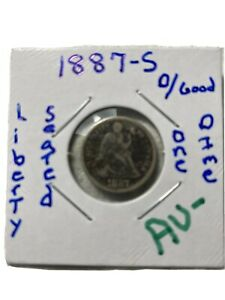 1887 Seated Liberty Dime Silver -AU- Graded Little Rough Nice Coin