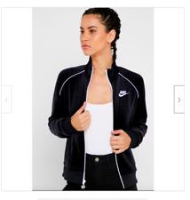 Nike Women's Sportswear Velour Full Zip Jacket Black White CJ4912-010 NWT