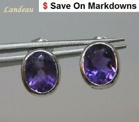 2  ct  AMETHYST SILVER EARRINGS