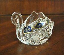 Bohemia Czech Swan Bowl Vintage Crystal hand cut, Queen Lace,
