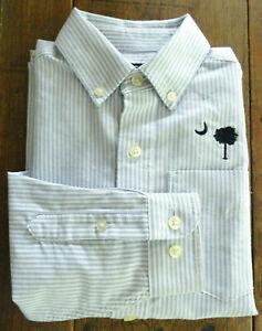 Palmetto Tree Crescent Moon Boys Sz 7 Blue/Whit Pinstripe Oxford Dress Shirt SC