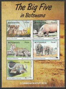 Botswana 2018 Fauna, Animals, Big Five MNH sheet