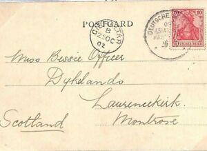 GERMANY Card GIBRALTAR PAQUEBOT *Deutsche Seepost* GB Scotland 1902{samwells}E41