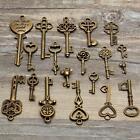 19 Assorted Antique Vintage VTG Old Look Skeleton Keys Bronze Steampunk Pendants