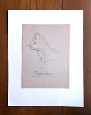 """PABLO PICASSO 7.3"""" x 5.5"""" -CAT- INK PAPER SIGNED & AUCTION HOUSE SEAL"""
