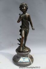 "14""China Western Art sculpture Bronze Marble Men Boy Violin Statue"