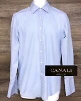 Canali Mens Light Blue Check Long Sleeve Dress Shirt w/ French Cuffs Italy 38/15