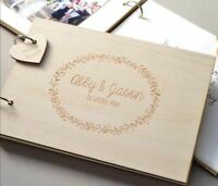 Wreath Wedding Rustic Guest Book Personalized Vintage Wedding Wooden 50 Sheets