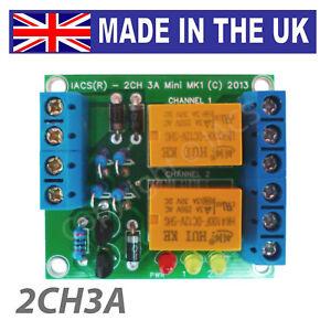 IACS 2 Channel 3A Miniature Relay Board 3 Amp SPDT AVR TTL 12V ARM 2CH3A Mini UK