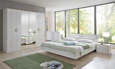 German Susan Driftwood White Oak Wardrobe King Size Bed & 2 Bedsides Shabby Chic