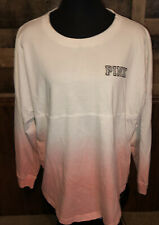 Victoria Secret Pink Womens White & Pink Long Sleeve Tee Sz L