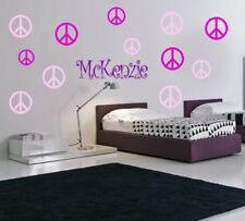 32 PEACE SIGNS & CHILD'S NAME VINYL WALL STICKER DECALS