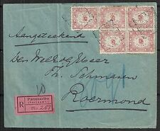 Surinam 1909 NVPH 58a(2x) R-cover to Roermond