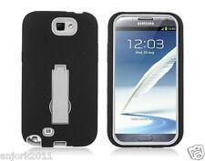 Samsung Galaxy Note II 2 Hybrid S Armor Case Skin Cover w/ Stand Black White