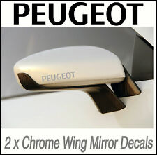 PEUGEOT CHROME WING MIRROR DECALS STICKERS VINYL MOD X2