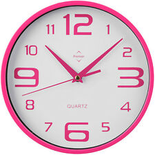 HOT PINK & WHITE - RETRO ROUND WALL CLOCK BIG NUMBERS KITCHEN OFFICE HOME SALON