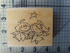 "Stampendous Wood mounted rubber stamp ""Nativity Cast"" Mary ,Joseph & baby Jesus"