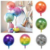 "22""Rounds 4D Rainbow Gradient Disco Foil Balloons Wedding Birthday Party Decor"