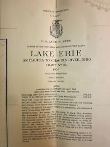 Army Corp Engineers Maritime Survey Chart Map 1953  Lake Erie Ashtabula  39x30