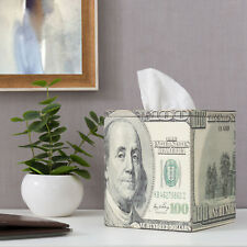 MyGift 100 Us Dollar Bill Money Pattern Tabletop Square Wood Tissue Box Cover