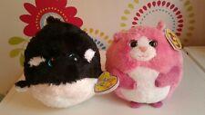 Rare Ty Beanie Ballz TUMBLES Pink Cat Black White Orca Whale SPLASH Bundle TAGS!