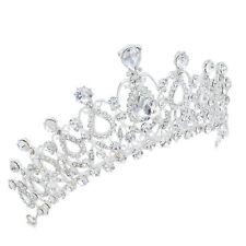TQA13 Clear Rhinestone Crystal Drip Alloy Holy White Tiara Bridal Wedding Crown