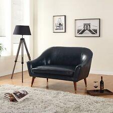 Mid Century Modern Bonded Leather Living Room Loveseat (Dark Blue)