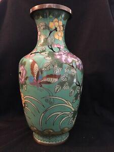 Ornate Chinese Cloisonné Enamel Vase