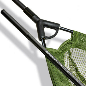 "Saber Fishing 2 Piece Landing Net 42"" Carp Coarse Mesh Tackle + Pole Handle Sea"