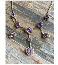 Antique Festoon 10K Gold Rose France Amethyst Gemstone Necklace Vintage Jewelry