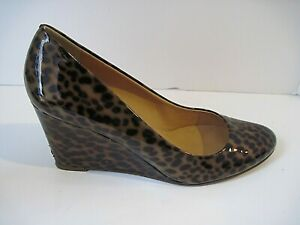 J CREW BROWN PATENT LEATHER ANIMAL PRINT WEDGE HEELS SIZE 8 ITALY
