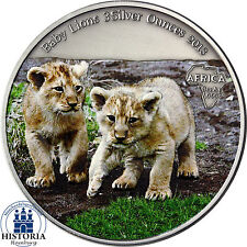Afrika Serie: Kongo 2000 Francs 2013 Baby Lions 3 Silver Ounces in Farbe