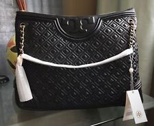 New  Authentic Tory Burch Quilted LAMB Leather Fleming Tote  Bag Black w/ Tag