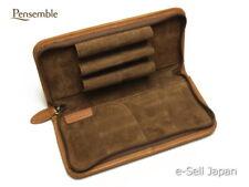 """Pilot Round Zipper Cowhide Leather Pen Case """"Pensemble"""" Brown PSPC-01-BN"""