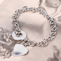 Fashion Hollow Heart Charm Chain Bracelet Pendant Necklace Women Jewelry D
