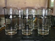 Vtg 6 Highball Drinking Bar Glasses Silver Trim Embossed Antique Classic Cars 6""