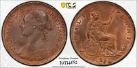 PCGS MS-64 GREAT BRITAIN HALFPENNY 1/2 PENNY 1892 (BETTER DATE!) SOME RED!