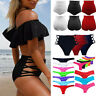 Womens High Waisted Bikini Bottoms Ruched Swimsuit Bathing Beach Swimwear Briefs