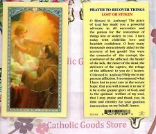 Saint St. Anthony - Prayer to Recover Things Lost or Stolen -Laminated Holy Card