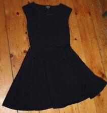TOPSHOP Womens A-Line Dress UK 10 Medium Black Cotton Slim Fit  FE08