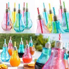 Set 12 Vasos de Vidrio de 250 ml diseño Bombilla de colores con Pajitas