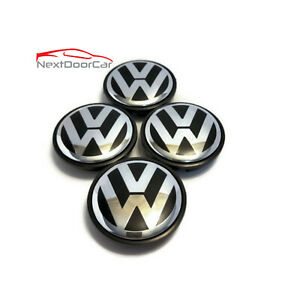 "Set of 4 Used OEM VW Volkswagen 2.5"" Center Caps Beetle Passat 3B7 601 171"