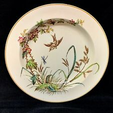 AESTHETIC BROWN TRANSFERWARE SOUP PLATE ~ DRAGONFLY 1883