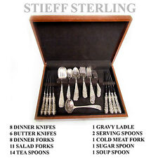 53 pc Stieff Repousse Sterling Silver Flatware Set Service