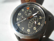 Fossil men's brown leather band.quartz,battery & water resistant watch.Ch-2939