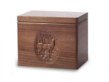 Wood Cremation Urn. Standard model with Black Walnut and a Deer Image